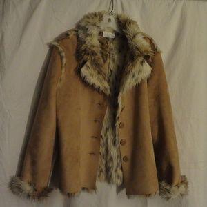 Mifreseia Faux Suede/Fur Soft Tan Button Jacket